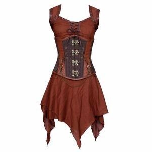 steampunk medieval warrior cosplay plus size steel boned