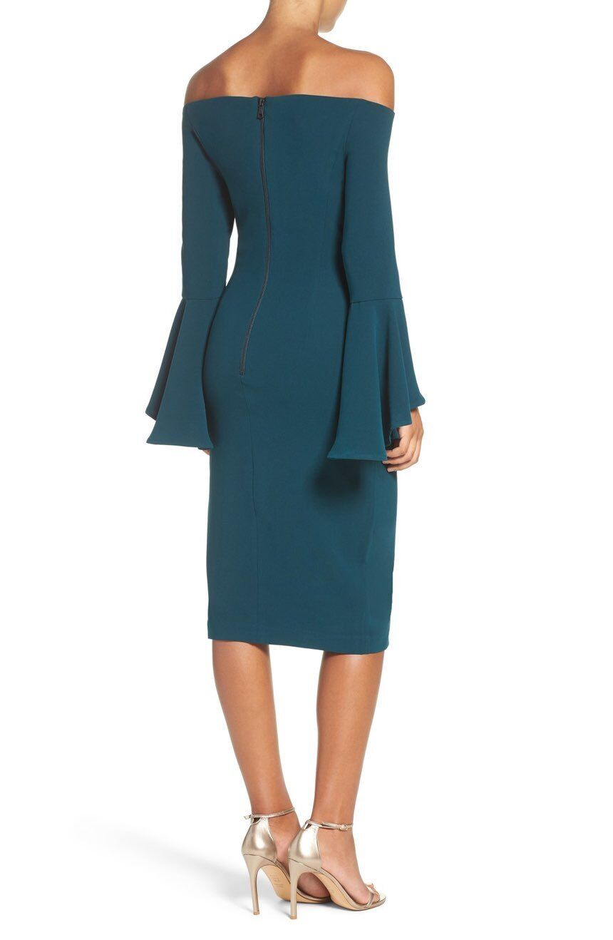 NWT BARDOT Teal Sexy Sexy Sexy Off the Shoulder Bell Sleeve Solange Milly Midi Dress 6 S 894a31