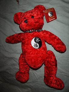 "Fiesta Foo Forever Ying Yang Bracelet Red Bear 15"" Plush Soft Toy Stuffed Animal"