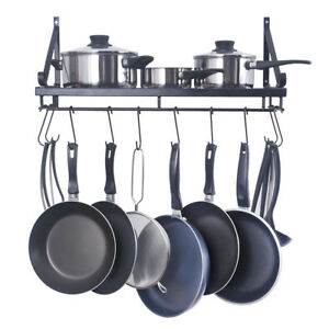 Kitchen Hanging Shelf Iron Pot Pan Rack Wall Mount Utensils Storage