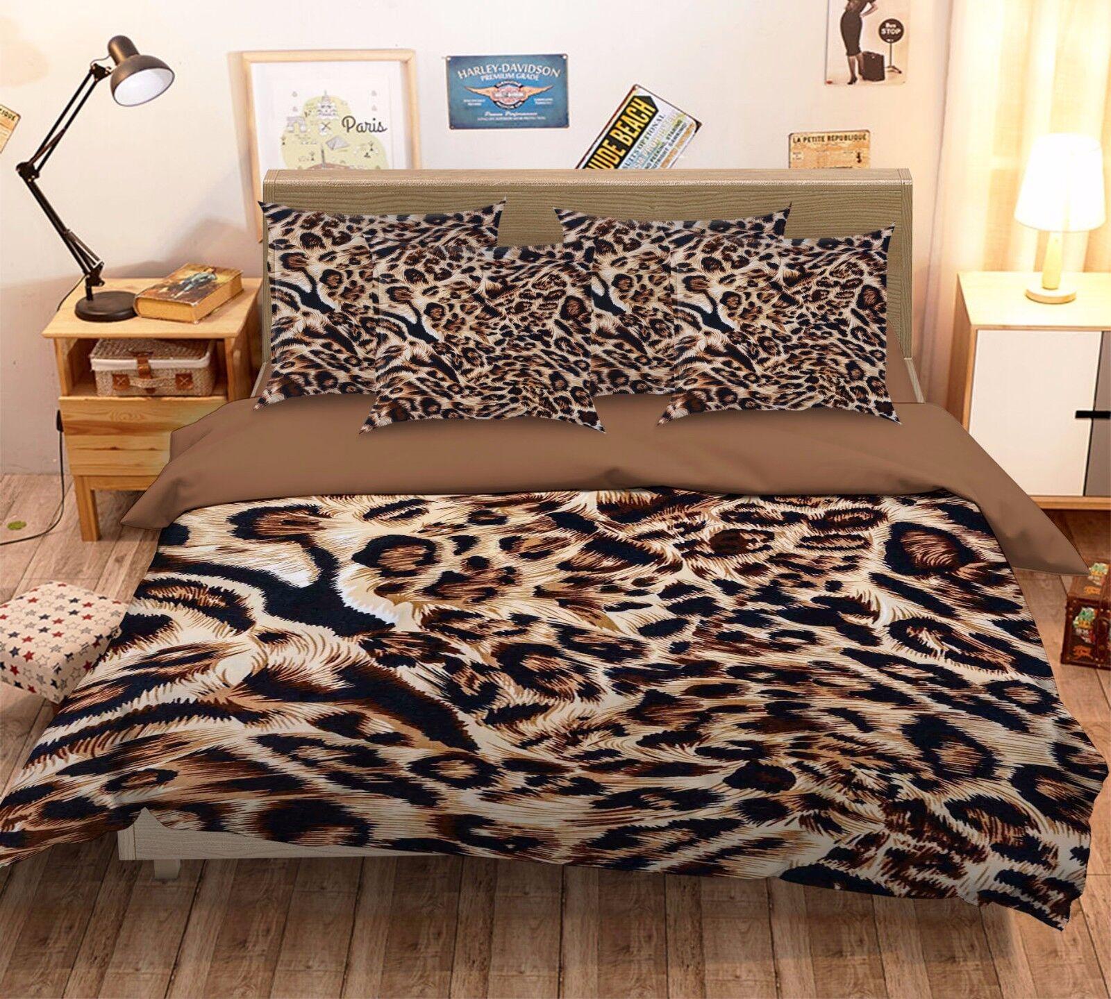 3D Fashion Leopard Skin 42 Bed Pillowcases Quilt Duvet Cover Set Single Queen CA