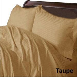 Taupe-Striped-Bedding-Collection-With-Extra-Deep-Pocket-1000TC-Egyptian-Cotton