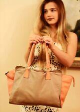 ALEANTO Collezioni Italy Genuine Pebble Leather MELON/TAUPE TRAVEL Tote Bag