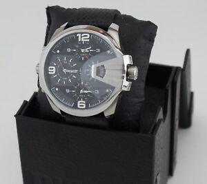 d9a6584b04e8 Image is loading NEW-AUTHENTIC-DIESEL-UBER-CHIEF-SILVER-BLACK-CHRONOGRAPH-