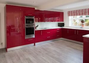 Image Is Loading Red High Gloss Kitchen Cabinets Supplied Embled Ing