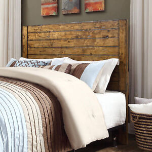 Details About Rustic Full Queen Headboard Shabby Brown Finish Solid Wood Bedroom Furniture S