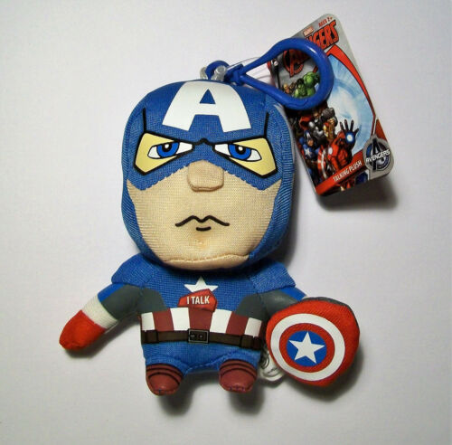 KEYRING MARVEL CAPTAIN AMERICA MINI TALKING 11cm PLUSH BAG CLIP-ON