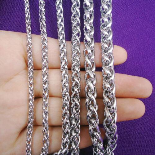 "3//5//6//8MM Fashion Stainless Steel Interlocking Chain Necklace 20-30/"" US FreeShip"