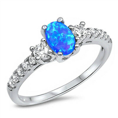 Beautiful Blue Opal & Cz .925 Sterling Silver Ring Sizes 4-12