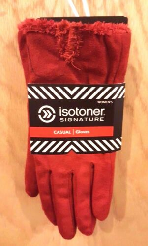 XL $40 Isotoner Signature Red Micro Suede Gloves w//Silky Micro-Luxe Lining