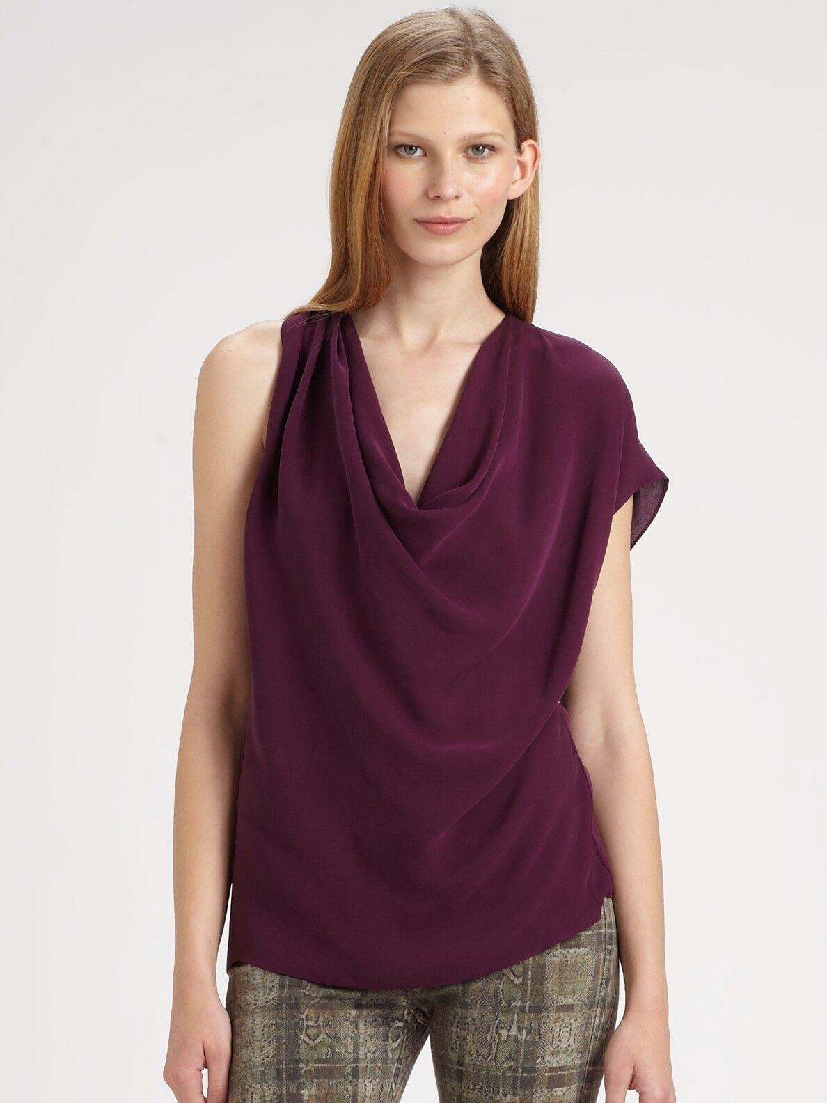 Haute Hippie Cowl Neck Asymmetrical   Silk Blouse Tank Top   Größe  S