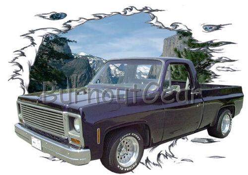 1973 Black Chevy Pickup Truck Custom Hot Rod Mountain T-Shirt 73 Muscle Car Tees