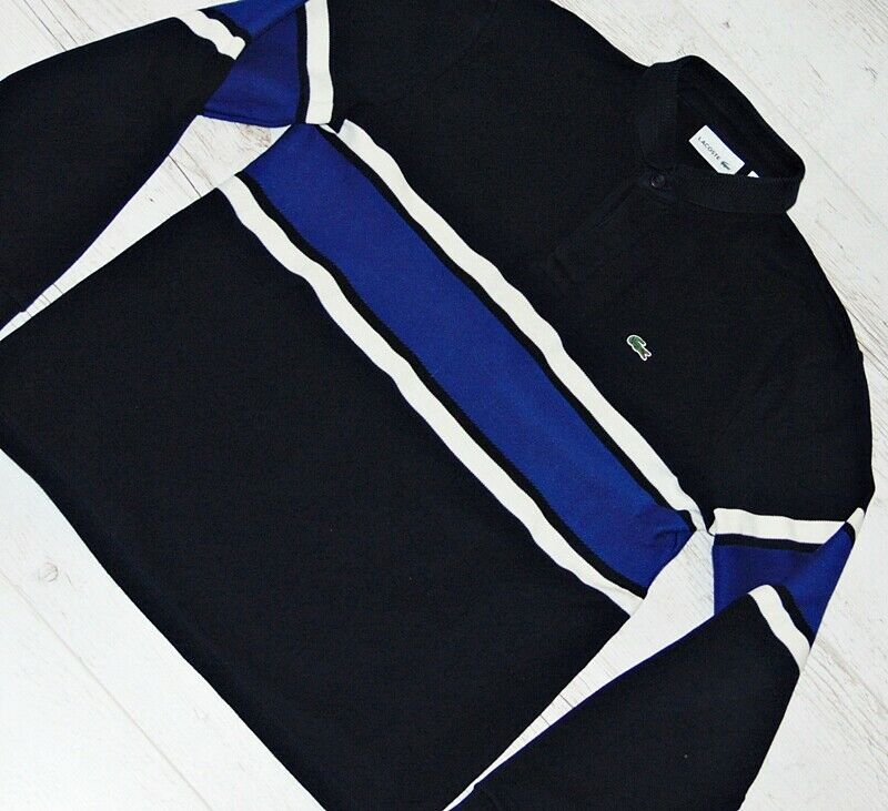 CLASSICAL LACOSTE NAVY blueE LONG SLEEVED POLO SIZE M - MEDIUM