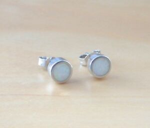 Details About 925 White Opal Earrings Sterling Silver Uk Studs