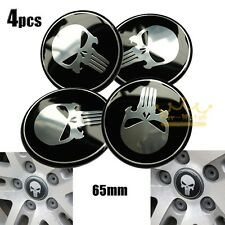 Universal 4pcs Punisher Car Steering Wheel Center Hub Cap Emblem Stickers 65mm