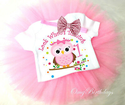 Owl Rainbow Birthday Outfit Pink 1st 2 3 4 5 6 7th Girl Tutu Headband Shirt