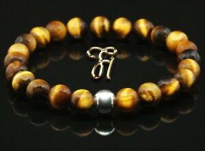 Tigerauge-925er-sterling-Silber-Armband-Bracelet-Perlenarmband-braun-8mm