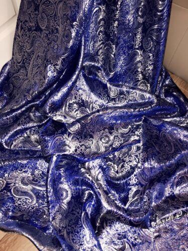 "NEW PAISLEY ROYAL BLUE METALLIC BROCADE JACQUARD FABRIC..58/"" WIDE £29.99 5 MTR"