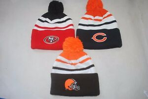 Details about NEW NFL Winter knit cuff Sideline beanie MAN S Cap Pom BEARS  49ERS BROWNS 692e29e0b08