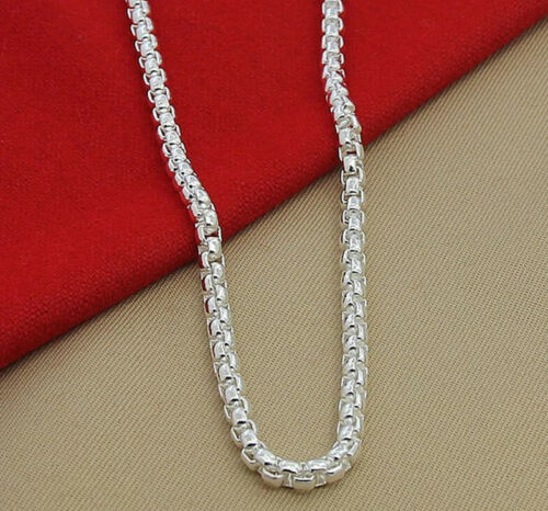"""925 Sterling Silver Women/'s Round Box Link Chain 20/"""" Necklace w Gift Pkg D615B"""