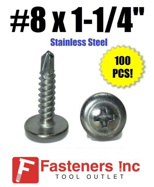100 PCS 2 Drilling Point Dovetail Screws #8 x 1-1//4 Stainless Wafer Head Self Drilling Screw Phillips Truss Head Sheet Metal Tek Screws by Eastlo Fastener 410 Stainless Steel