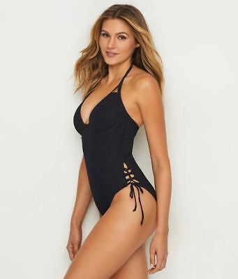 Miss Mandalay BLACK Icon Underwire Halter Plunge One Piece Swimsuit US 36FF