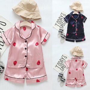 Toddler-Baby-Kid-Girls-Boys-Sleepwear-Short-Sleeve-Tops-T-shirt-Pants-Outfit-Set