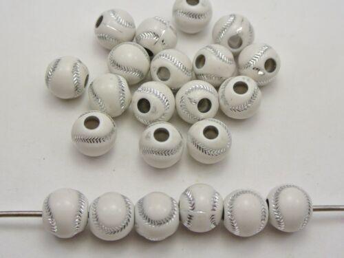 100 Blanc Mousseux Argent Baseball Motif Acrylique Perles Rondes 12 mm
