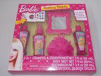 Barbie Bathing Beauty Bath Set Shampoo Body Wash Mist Tattoos Decals Mirror Pouf