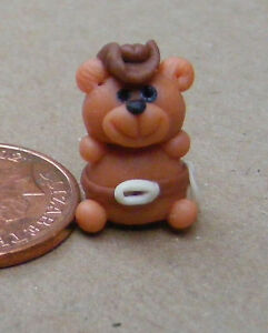 1-12-Scale-Polymer-Clay-Teddy-Bear-Cowboy-Tumdee-Dolls-House-Ornament-LB11