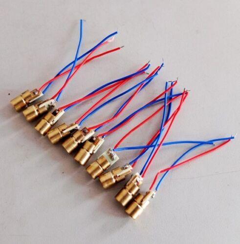 100pcs//lot 650nm 6mm 5V 5mW Laser Dot Diode Module Copper Head  Red