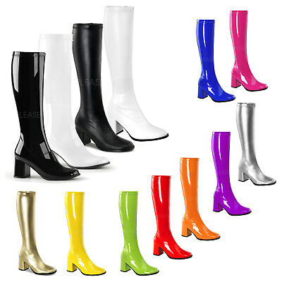 PLEASER FUNTASMA GOGO-300 GOLD PU 70/'S DISCO BLOCK HEEL KNEE HIGH BOOTS