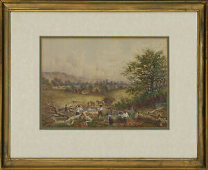 Framed Early 20th Century Watercolour - Woodsmen at Work in a Landscape