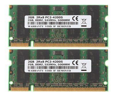 2X 2GB 2RX8 PC2-4200S DDR2 SODIMM PC Laptop Memory RAM 200pin 533Mhz @# 4G 4GB