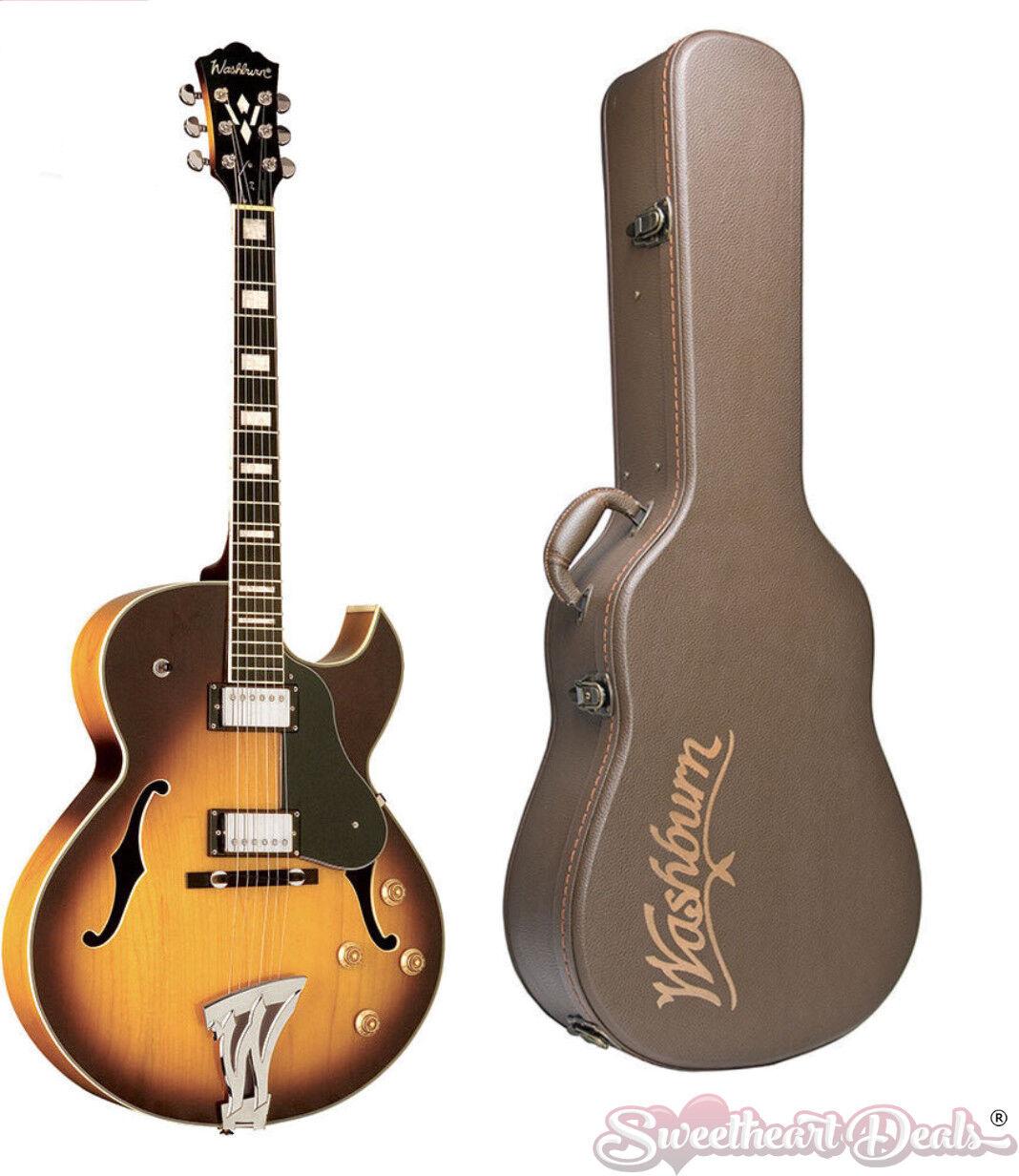 Washburn Jazz Hollow Body J3TSK Electric Guitar - Tobacco Sunburst w Free Case