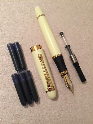 JINHAO X450 GREY MARBLE FOUNTAIN PEN-M NIB-INK CONVERTER+5 X CARTRIDGES-UK STOCK