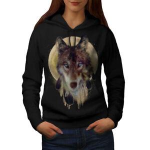 Wellcoda-Wolf-Dream-Catcher-Womens-Hoodie-Wild-Casual-Hooded-Sweatshirt
