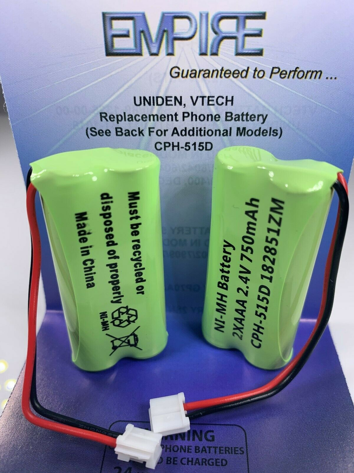 RCA VISYS 25252 2.4V 750mAh NiMH Empire Scientific Cordless Phone Battery 2 Pack