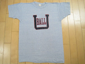 Details about NEVER WORN!! 80s vtg BALL STATE UNIVERSITY heather blue  CHAMPION T SHIRT large