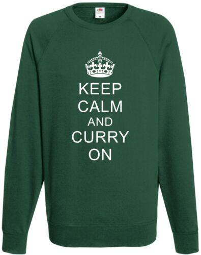 Keep Calm /& Curry On Sweatshirt Funny Xmas Gift Joke Present Chef Top Cooking