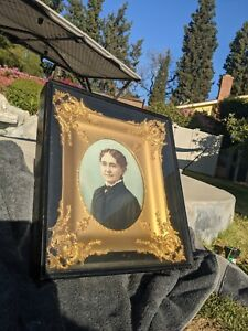 Antique Shadow Box With Gold Picture Frame Painting by Alice Barbour 19th Cent