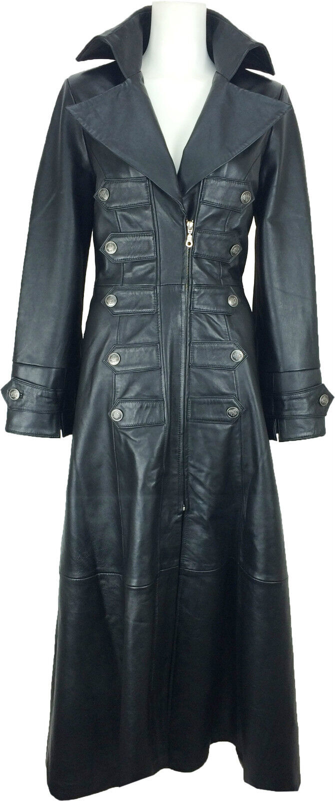 UNICORN damen Full Length Real Leather Trench Coat Gothic Emo Jacket  M5