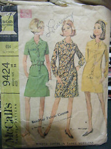 Vintage-McCall-039-s-9424-Misses-Dress-Pattern-Size-14