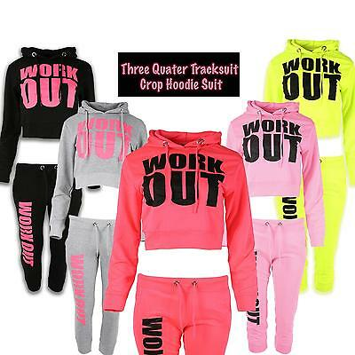 BRAND NEW LADIES CROPPED TOP WORK OUT FLEECE GYM LOUNGE WEAR WOMENS TRACKSUIT