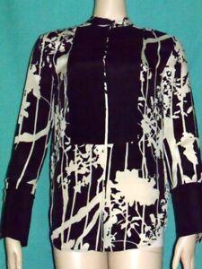 Size-2-PHILLIP-LIM-3-1-100-Silk-Black-Cream-Top-Shirt-Blouse-Mandarin-Asian