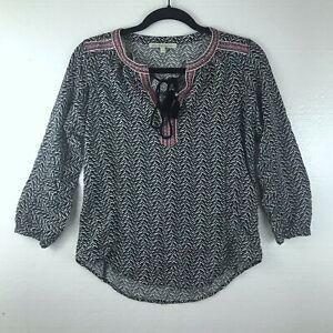 Daniel-Rainn-Women-039-s-Size-Small-Tassel-Embroidered-Boho-Top-Blouse-3-4-Sleeves
