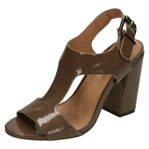 Anne Michelle F10645 Black Or Taupe Patent Synthetic Strap High Heel Sandals