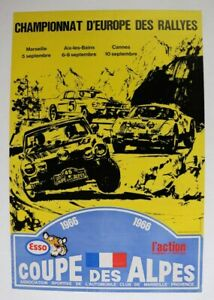 AFFICHE-AUTOMOBILE-RALLYES-COUPE-ALPES-1966-FIAT-124-ABARTH-MUSTANG-PORSCHE-906