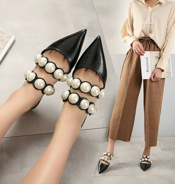 MW009721 - FASHION FAUX PEARL EMBELLISHED SLIPPER chaussures MULES (Taille 34 - 41)