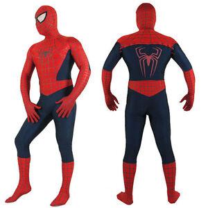 Adult Men Red Spiderman Costume Superhero Cosplay Spandex Zentai Fancy Dress New